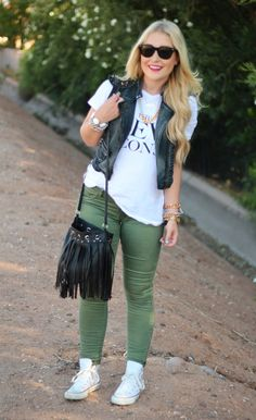 converse, olive pants, graphic tee, vest.