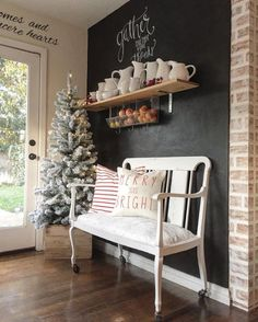 53 Inspiring Farmhouse Christmas Entryway Design Ideas For The Latest Style Designs Christmas Entryway, Christmas Home, Christmas Ideas, Elegant Christmas, Simple Christmas, Christmas Christmas, Beautiful Christmas, Chalkboard Wall Kitchen, Chalkboard Paint