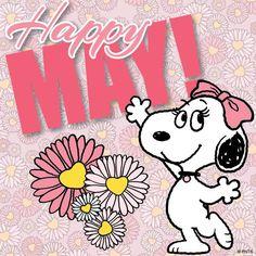 Happy May! Charlie Brown Y Snoopy, Snoopy Love, Charlie Brown Christmas, Peanuts Gang, Peanuts Cartoon, Peanuts Characters, Cartoon Characters, Cartoon Art, Woodstock Snoopy