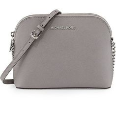 MICHAEL Michael Kors Jet Set Small Travel Dome Crossbody Bag ($168) ❤ liked on Polyvore featuring bags, handbags, shoulder bags, pearl gray, crossbody purse, chain shoulder bag, monogrammed crossbody purse, travel crossbody and gray handbags #CrossbodyBags #brianatwoodpurse