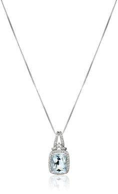10k White Gold Aquamarine and Diamond Cushion Pendant Necklace (1/10cttw, I-J Color, I2-I3 Clarity), 18' * For more information, visit image link.