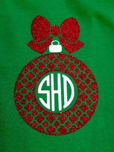 Monogram Christmas ornament shirt! by MissSophiesBoutique on Etsy https://www.etsy.com/listing/206912130/monogram-christmas-ornament-shirt