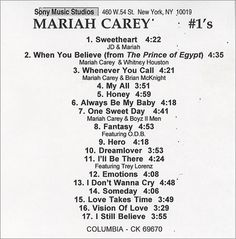 For Sale - Mariah Carey #1s - Number 1s USA Promo  CD-R acetate - See this and 250,000 other rare & vintage vinyl records, singles, LPs & CDs at http://eil.com