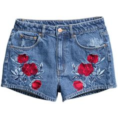 H&M Embroidered Denim Shorts $14.99 (270 MXN) ❤ liked on Polyvore featuring shorts, bottoms, pants, blue, distressed denim shorts, high waisted shorts, denim shorts, high waisted jean shorts and high waisted ripped shorts