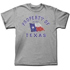 Property of Texas - Athletic Grey Shirt [5439TSAH] : Outhouse Designs Screen Print T-shirt Store, Keep Austin Weird!