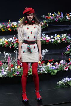 Fashion brand Sretsis showed off #crochet strawberries and other fruit earrings during Tokyo Fashion Week