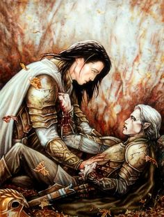 "'Then Gwindor said to Túrin: ""Let bearing pay for bearing! But ill-fated was mine, and vain is thine; for my body is marred beyond healing, and I must leave Middle-earth. And though I love thee, son..."