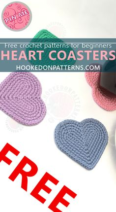 Free Crochet Patterns for Beginners - Heart Coasters Free Crochet Pattern. Make these cute coasters by following my free crochet pattern.
