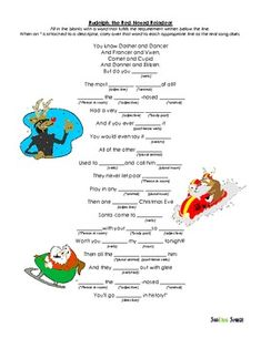FREEBIE: Christmas SongLibs -   MadLibs for familiar Christmas songs: 12 Days of Christmas; Rudolph the Red-Nosed Reindeer; Jingle Bells. Useful for articulation, grammar, language, and other uses.