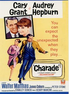 Charade 1963 di Stanley Donen con Cary Grant, Audrey Hepburn, Walter Matthau e James Coburn. Old Movie Posters, Classic Movie Posters, Classic Movies, Vintage Posters, Charade Movie, Charade 1963, Walter Matthau, Henry Mancini, Cary Grant