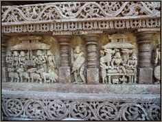 Scenes from the Epic Ramayana are sculpted on the south side wall on 70 panels with the story proceeding anti clockwise which is unusual. On the north side wall, all depictions are clockwise, the normal Hoysala style. 25 panels depict the life of Lord Krishna and the remaining 45 panels depict the Epic Mahabharatas: Amrutesvara Temple, Amruthapura -Part 2
