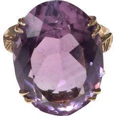 9K Yellow Gold Amethyst Cocktail Ring Size 7/N for sale with Corvidae Antique