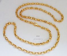 HS #18K Yellow #Gold #Men's #Marine Link #Chain 4.5mm wide, 24/ 26 inches (Hollow) #Jewelry #Gift #FreeShipping