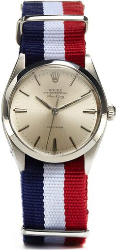 Rolex Perpetual Air-King Precision watch with nylon strap