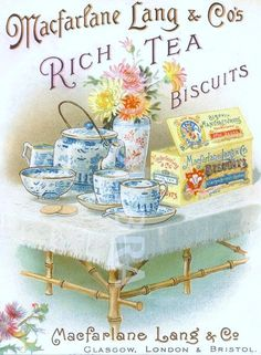 Advertising leaflet for Macfarlane Lang's Rich Tea Biscuits. (Chromolithographed advertising leaflet for Macfarlane Lang's Rich Tea Biscuits. Vintage Tee, Vintage Labels, Vintage Packaging, Vintage Postcards, Vintage Prints, Rich Tea Biscuits, Tee Kunst, Tea Labels, Image Deco