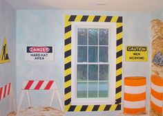 Boys Room Truck Construction mural traditional bedroom. Cute signs.
