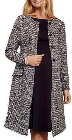 86b914bb81386 Tiffany Rose Maternity Verity Collarless Button-Front Boucle Coat #affiliate