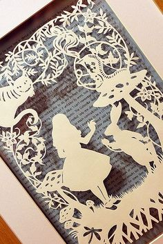 Alice In wonderland papercut. I really like this papercut and I'm thinking of either choosing Alice in wonderland or a fairytale. Kirigami, Up Book, Book Art, Papercut Art, Adventures In Wonderland, Alice In Wonderland Book, Altered Books, Paper Design, Silhouettes