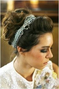headband with front poof and high up do