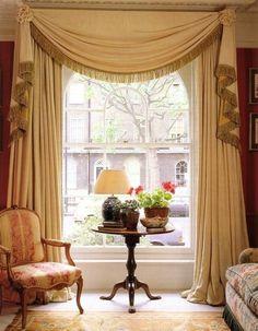 drapery panels with one long scarf edged with bullion fringe creates swag & side jabots : Window Treatment