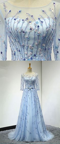 Sky blue tulle mid sleeve long beaded evening dress with sash #promdress #promdresses #prom #dress