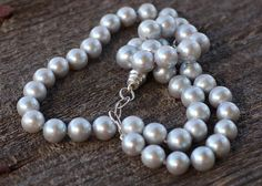 Silvery Gray Cultured Freshwater Pearl Necklace, Hand Knotted Necklace, Heirloom Quality