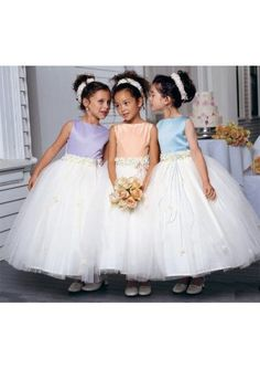 Elegant White Ball Gown Off the shoulder Tea Length Tulle Flower Girl Dress Cute Flower Girl Dresses, Tulle Flower Girl, Little Girl Dresses, Girls Dresses, Bridal Party Dresses, Fall Wedding Dresses, Bridesmaid Dresses, Bridesmaids, Beach Flower Girls