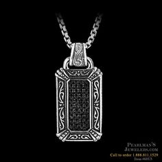 Mens Sterling Silver Pave Black Sapphire Dog Tag with Engraved Frame on 26