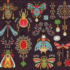 jewel bugs by caitlin_pesky Folk Art, Animal Art, Drawings, Art Projects, Illustration Art, Insect Art, Artsy, Art Inspiration, Prints