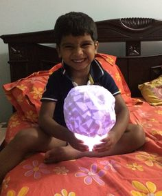 Gautham all smiles with his Lamp Shade