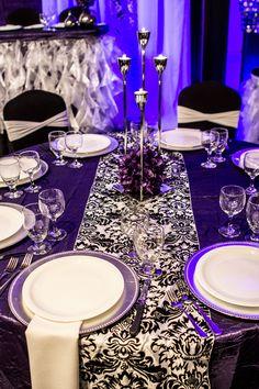 Modern Wedding Decor  #wedding #reception #catering #events #lachefs #caketable #headtable #purple #tutuskirt #demask #flowerball #uplight #decor #modern
