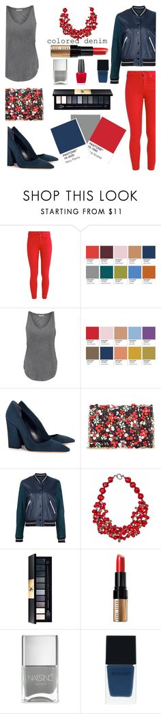 """""""Colored denim"""" by confusioninme ❤ liked on Polyvore featuring Tart, Dee Keller, Oscar de la Renta, rag & bone, Plumeria Exclusive London, Yves Saint Laurent, Bobbi Brown Cosmetics, Nails Inc., Witchery and OPI"""