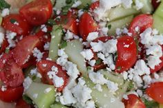 Melon and feta cheese salad, it's easy and fresh, it goes great with grilled meat. Perfect recipe for a summer barbecue side dish!