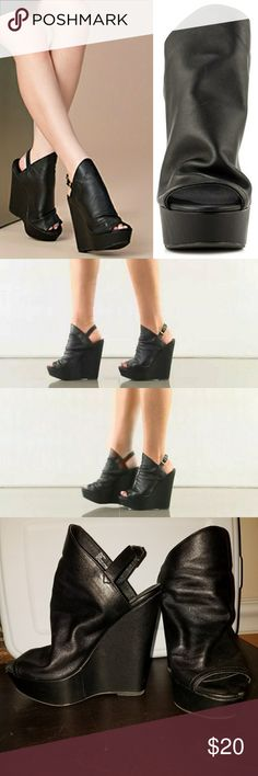 """Steve Madden """"Drapey"""" Wedges Minor wear on these babies that you really need to be close up to see. Leather upper with PU sock (drapey part). 6"""" wedge with 1.5"""" platform. Super comfy. TTS. Steve Madden Shoes Wedges"""