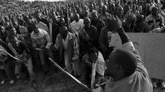 Strikers march at South Africa's Marikana mine