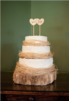 Rustic Wedding Inspiration -- only no cake, just scotcheroos.  But the decor?