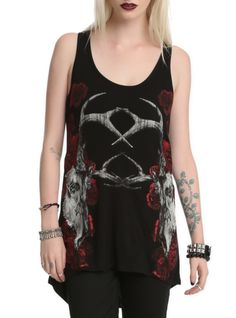 Black hi-lo tank top with antlered skull and glitter rose design. Back mesh panel.
