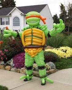 Ninja Turtle & Buzz Lightyear Costumes Made From Balloons