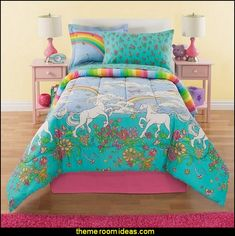Rainbow Comforter Set Twin, Unicorn Reversible Bedding, Beautiful Allover Flowers and Floral Pattern, Vibrant Rainbows with Clouds, Pink Orange Yellow Blue Aqua Green
