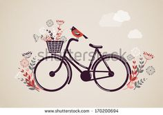 Vintage Retro Bicycle Background with flowers and bird by Marish, via Shutterstock