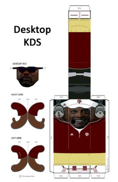 DIY - Desktop Kevin Sumlin 1) Print full-sized image on 11 x 17 paper. 2) Cut out the pieces, including the tabs. 3) Fold along the gray lines and tabs appropriately. 4) Tape or glue everything together.