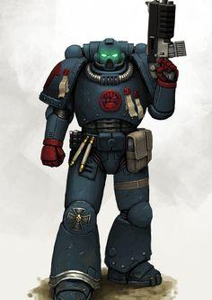 Crimson Fist Space Marine by FonteArt on DeviantArt