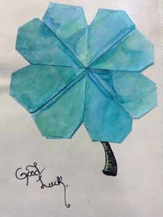 """Good luck."" Origami hearts, alcohol ink. Fountain pen, and Mogde podge."