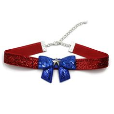 Arthlin Patriotic Women Bow Tie Choker Necklace in American Flag Colors - Glittery Red, White and Blue - Fun Accessory for of July, Made in USA American Flag Colors, Women Bow Tie, Blue Bow Tie, 4th Of July Celebration, Red Band, Silver Stars, Chokers, Blue And White