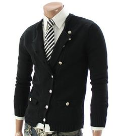Mens Casual Button Cardigan Sweater (012Z)