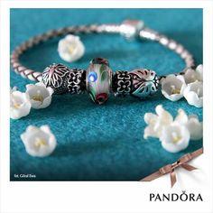PANDORA Braided Leather Bracelet with Folklore Murano. ❤️