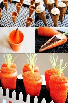 Easter Carrot Cupcakes Recipes, Easter DIY Tutorial: Carrot Shaped Cupcakes, Easter Food ideas, Easter table decorations by molly Cupcakes to look like carrots! A new twist on the cupcake in a ice cream cone. You will need cake batter for the cupcakes and Carrot Cupcake Recipe, Cupcake Recipes, Gourmet Cupcakes, Cupcake Cupcake, Dessert Recipes, Party Recipes, Dessert Ideas, Hoppy Easter, Easter Eggs