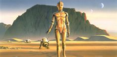 McQuarrie's concept paintings, including this scene of R2-D2 and C-3PO arriving on Tatooine, helped convince 20th Century Fox to fund Star Wars, which became a huge success upon release in 1977.
