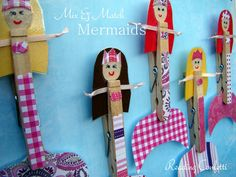 Mix & Match Clothespin Mermaids from Reading Confetti- LOVE this idea! Could let kids pick the parts, glue tail on and make it a magnet?