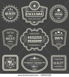 Vintage labels. Vector set. Striped background